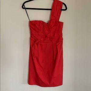 Red One shoulder cocktail dress
